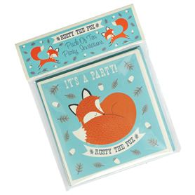 set of 10 rusty fox party invites