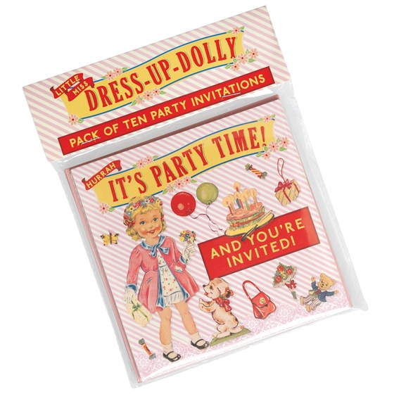 juego de 10 invitaciones de fiesta dress up dolly