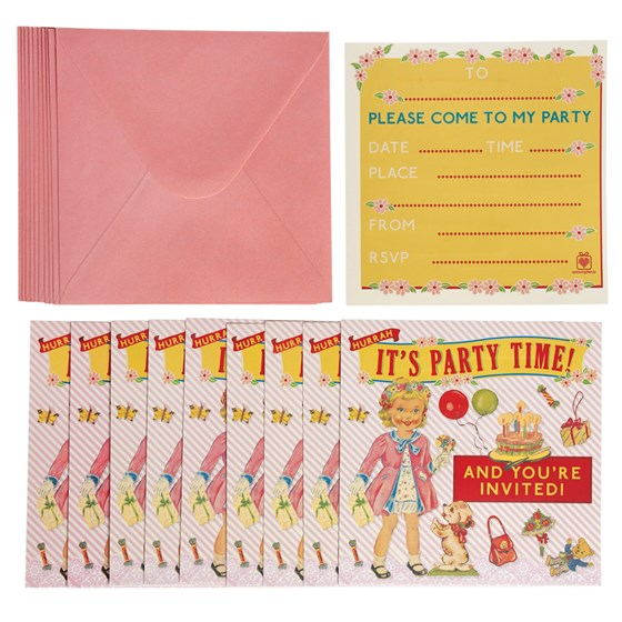 set of 10 dress up dolly party invites