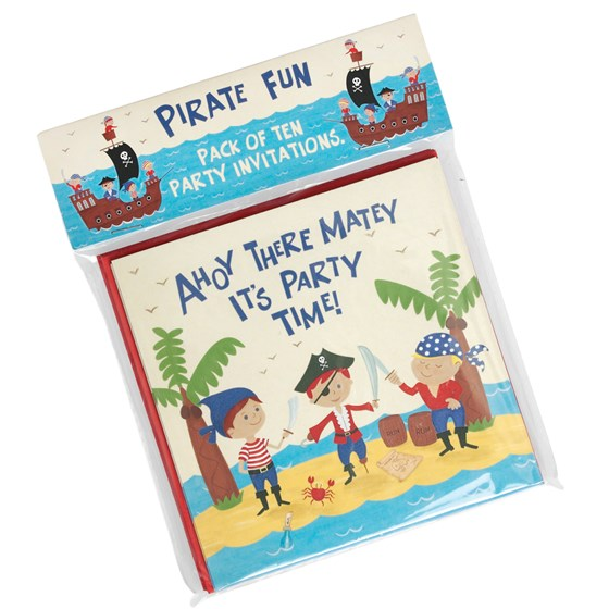 set of 10 pirate fun party invites