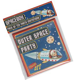 set of 10 spaceboy party invites