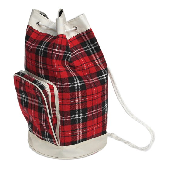 RED TARTAN DUFFLE BAG