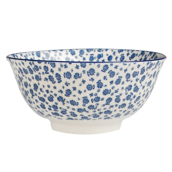 large japanese bowl blue daisy