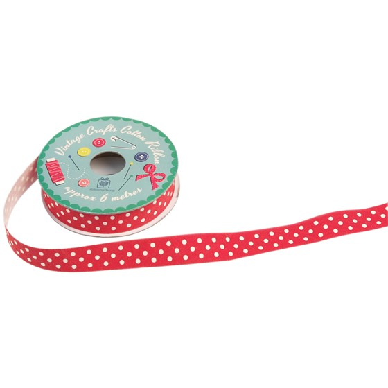 VINTAGE CRAFTS RIBBON RED POLKADOTS