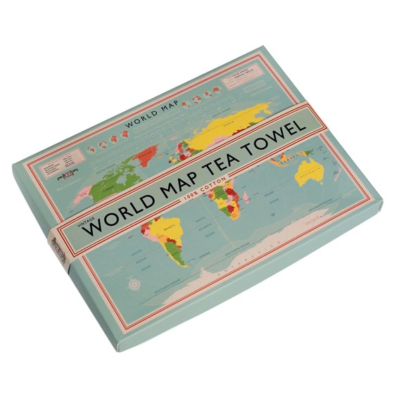 boxed cotton tea towel world map