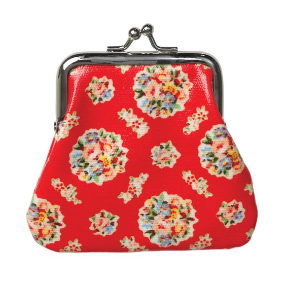 red bouquet oilcloth coin purse