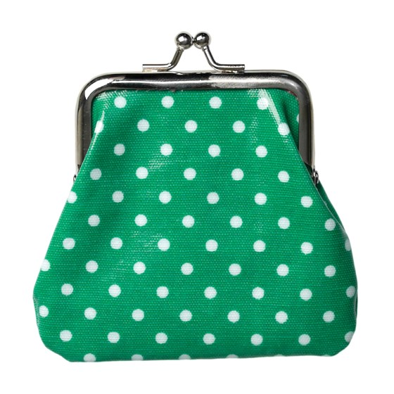 GREEN SPOTTY OILCLOTH COIN PURSE