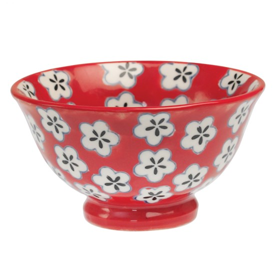 red hand painted daisy bowl