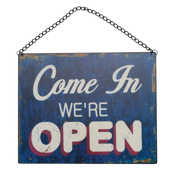 OPEN AND CLOSED METAL HANGING SHOP DOOR SIGN