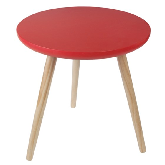 FIFTIES ROUND WOOD COFFEE TABLE RED