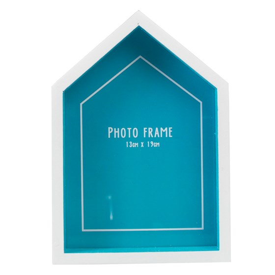 beach hut photo frame blue