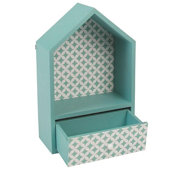 maison deco bleue en bois avec un tiroir grossiste cadeaux et d co rex london. Black Bedroom Furniture Sets. Home Design Ideas