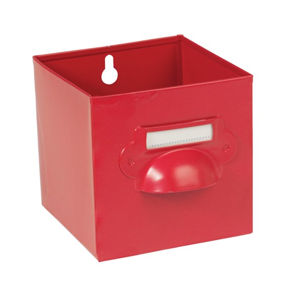 red metal storage drawer