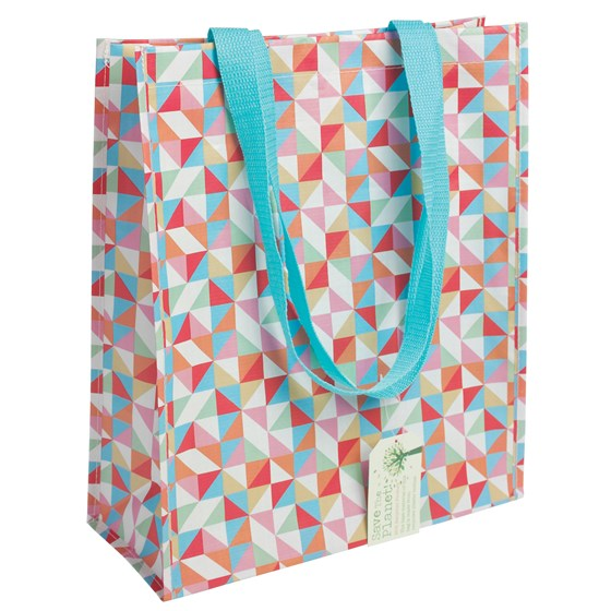 multicolour geometric design shopping bag