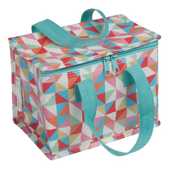 multicolour geometric design lunch bag