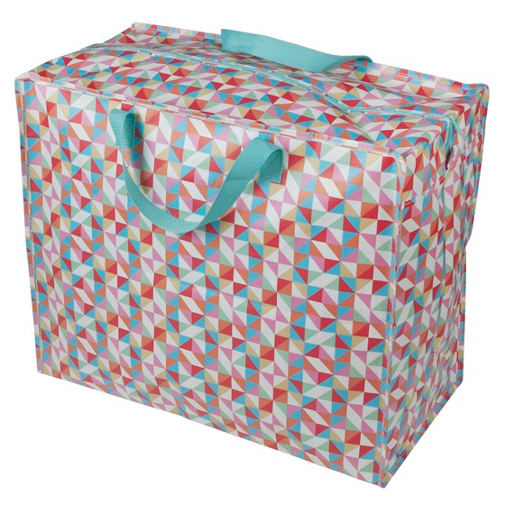 multicolour geometric jumbo storage bag