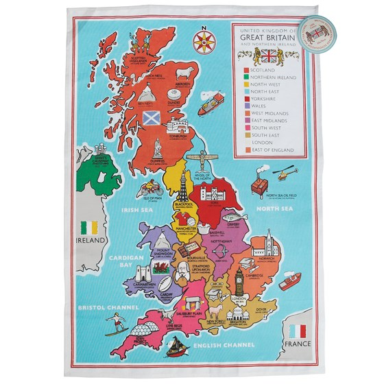 regional british school map tea towel
