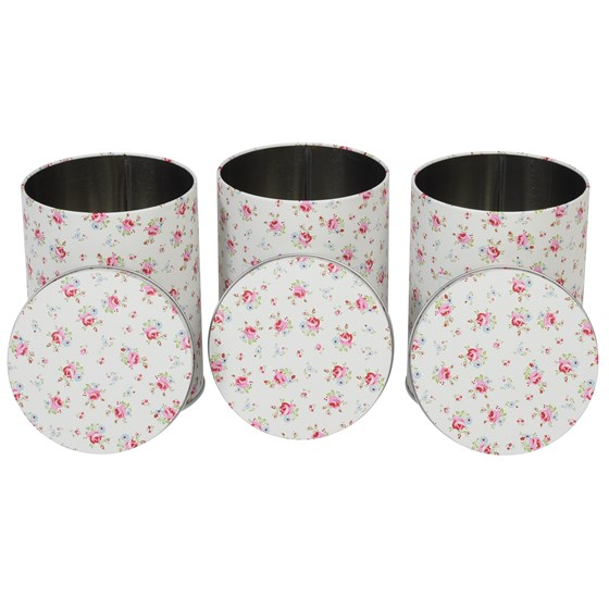 la petite rose set of 3 tea coffee sugar tins