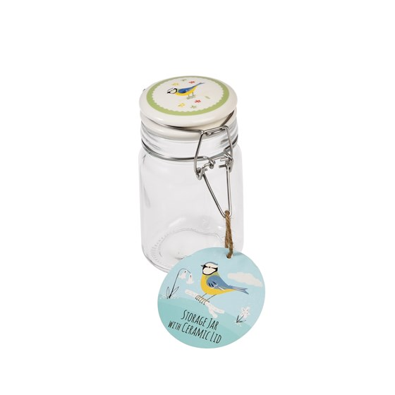 small blue tit glass jar