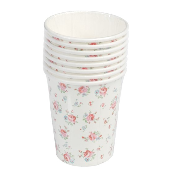 set of 8 la petite rose tea party cups