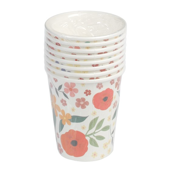 SET OF 8 SUMMER MEADOW TEA PARTY PAPER CUPS