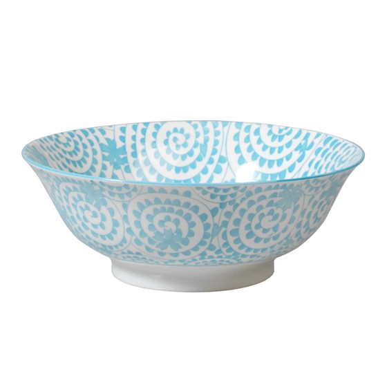 japanese salad bowl blue swirls