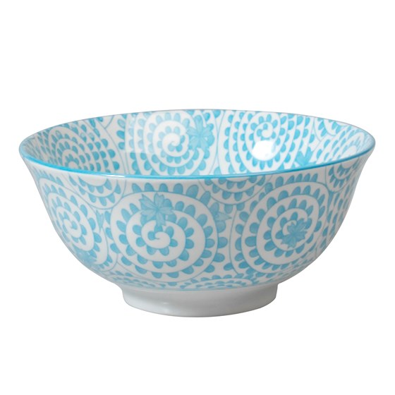 large japanese bowl blue swirls
