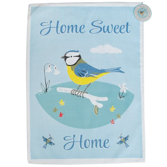 blue tit design tea towel