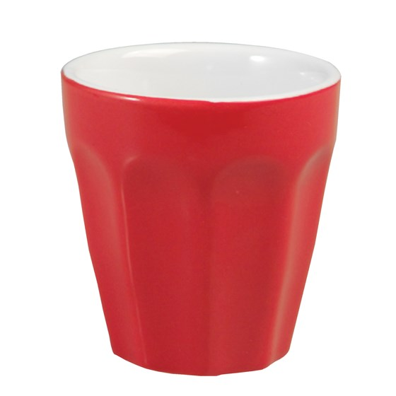 red ceramic mini coffee cup