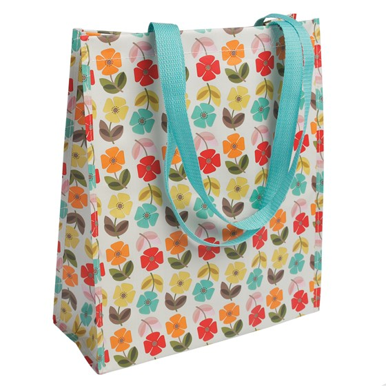 mid century poppy shopping bag