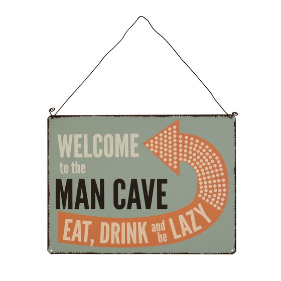 "panneau métallique ""welcome to the man cave"""