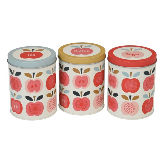 vintage apple set of tea coffee and sugar tins