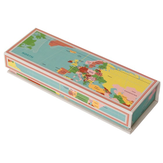 WORLD MAP MAGNETIC PENCIL CASE
