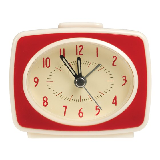 RETRO TV STYLE RED ALARM CLOCK