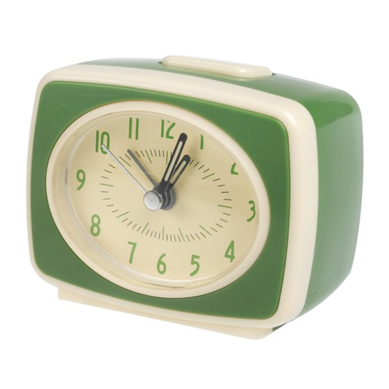 RETRO TV STYLE GREEN ALARM CLOCK