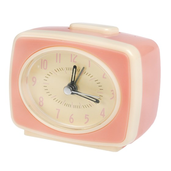 RETRO TV STYLE PINK ALARM CLOCK