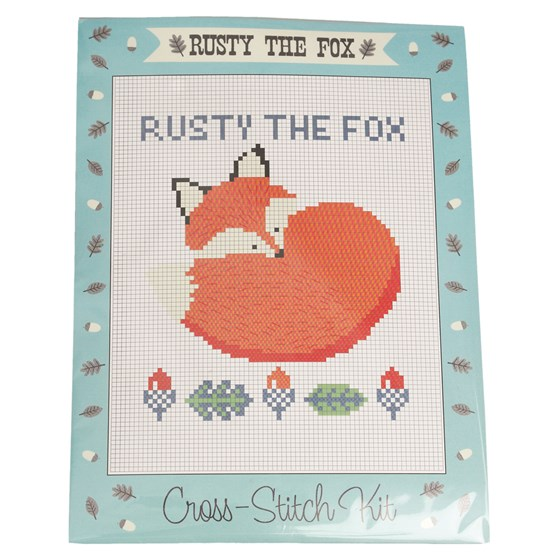 rusty the fox cross-stitch kit