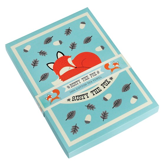 boxed tea towel rusty the fox