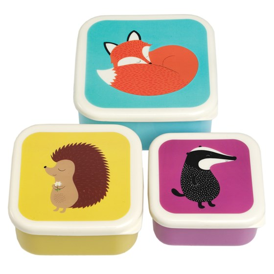 set of 3 rusty fox and friends snack boxes