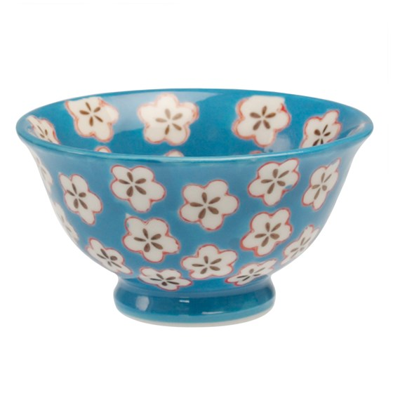 blue hand painted daisy bowl