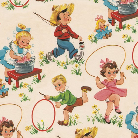 vintage kids wrapping paper