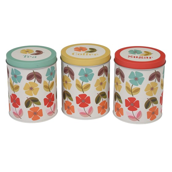 mid century poppy set of 3 tea coffee sugar tins