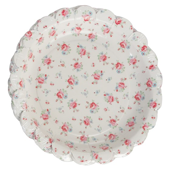 set of 8 la petite rose tea party plates