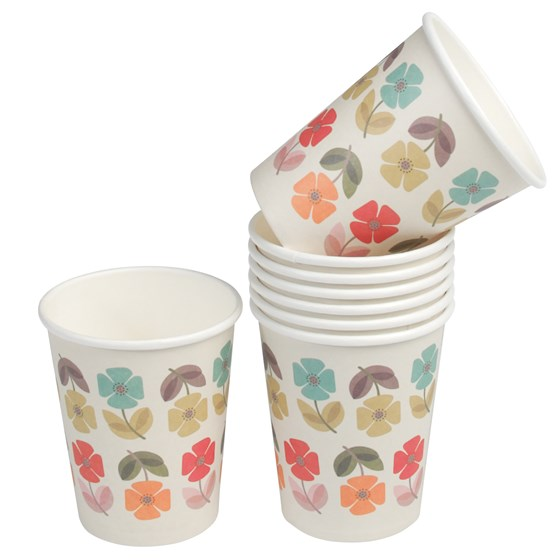 set of 8 mid century poppy tea party paper cups