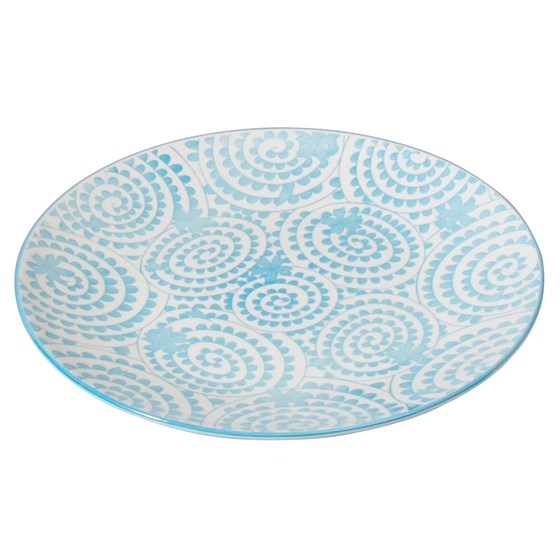 JAPANESE DINNER PLATE BLUE SWIRLS