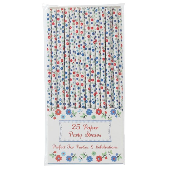 pack of 25 forget me not paper straws