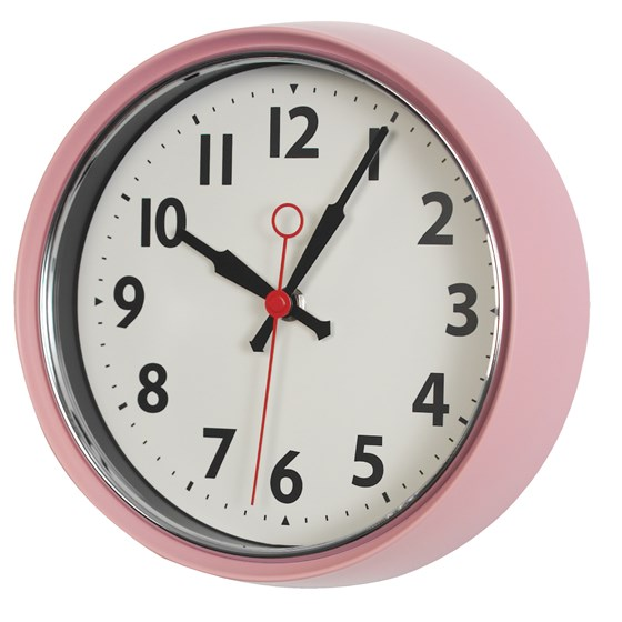 pink fifties style metal wall clock