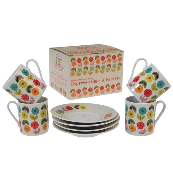 boxed set of 4 mid century poppy espresso cups with saucers