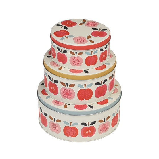 VINTAGE APPLE SET OF 3 CAKE TINS