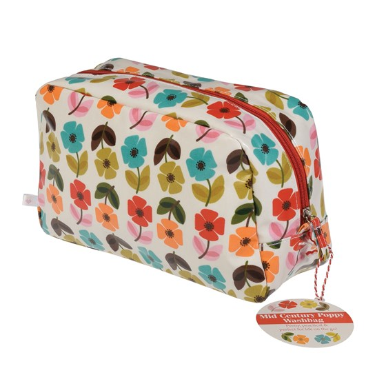 mid century poppy washbag